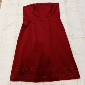Ann Taylor Blood Red Strapless Dress Size 16